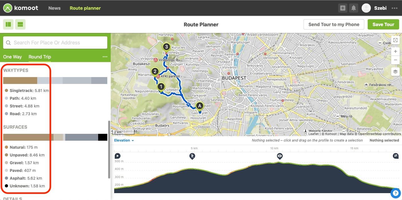 kerékpáros útvonal burkolattípusai, útvonal burkolat kerékpáros navigáción –komoot kerékpáros útvonaltervező app