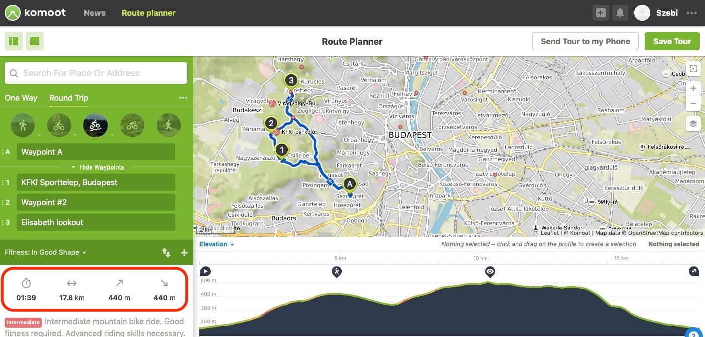 Szintkülönbségek akomoot kerékpáros útvonaltervező applikáció képernyőjén