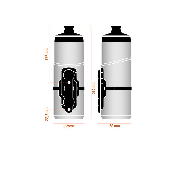 A Fidlock TWIST 600 ml-es kulacs + bike base mágneses-csavaros kulacstartó méretei